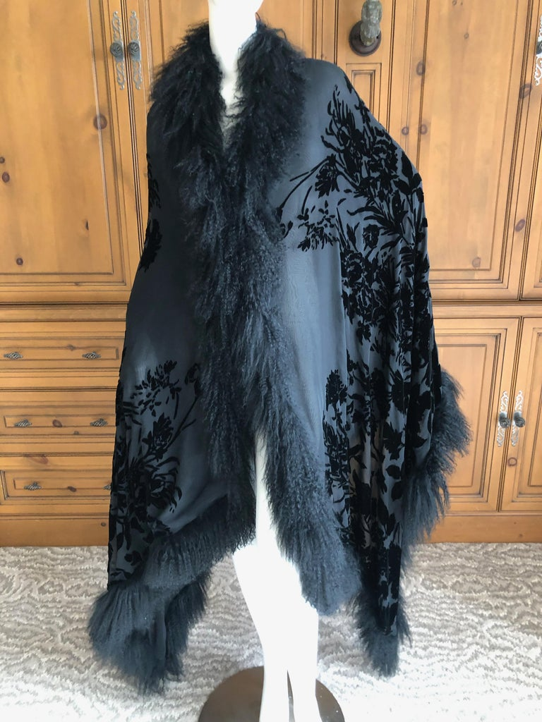 Adrienne Landau Large Vintage Black Devore Velvet Shawl with Curly Lamb Trim   2