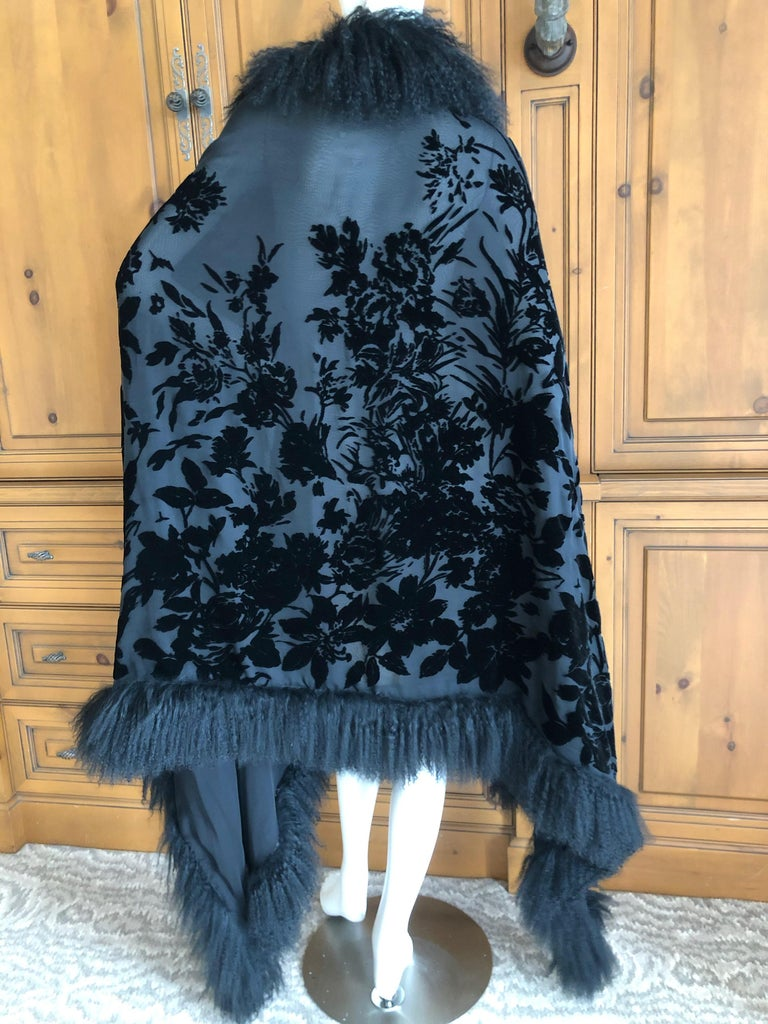 Adrienne Landau Large Vintage Black Devore Velvet Shawl with Curly Lamb Trim   4
