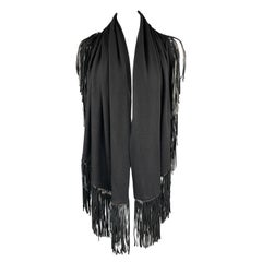 ADRIENNE LANDAU Solid Black Wool Leather Trim Shawl