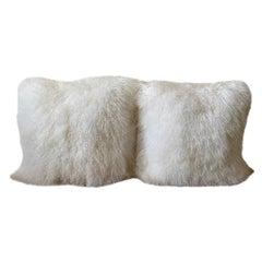 Adrienne Landau White Mongolian Lambs Wool Throw Pillows, Pair