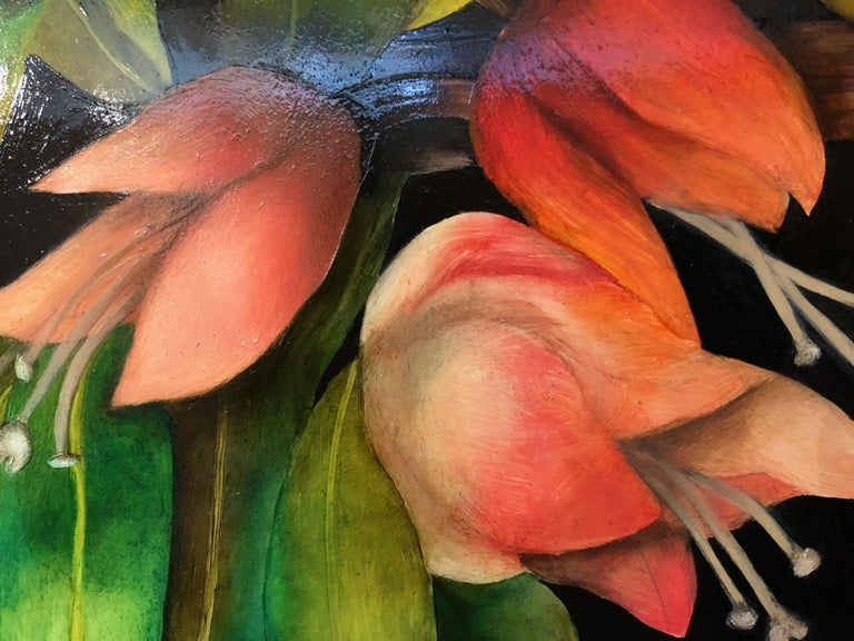 Bloom / oil on panel - Contemporary Painting by Adrienne Sherman