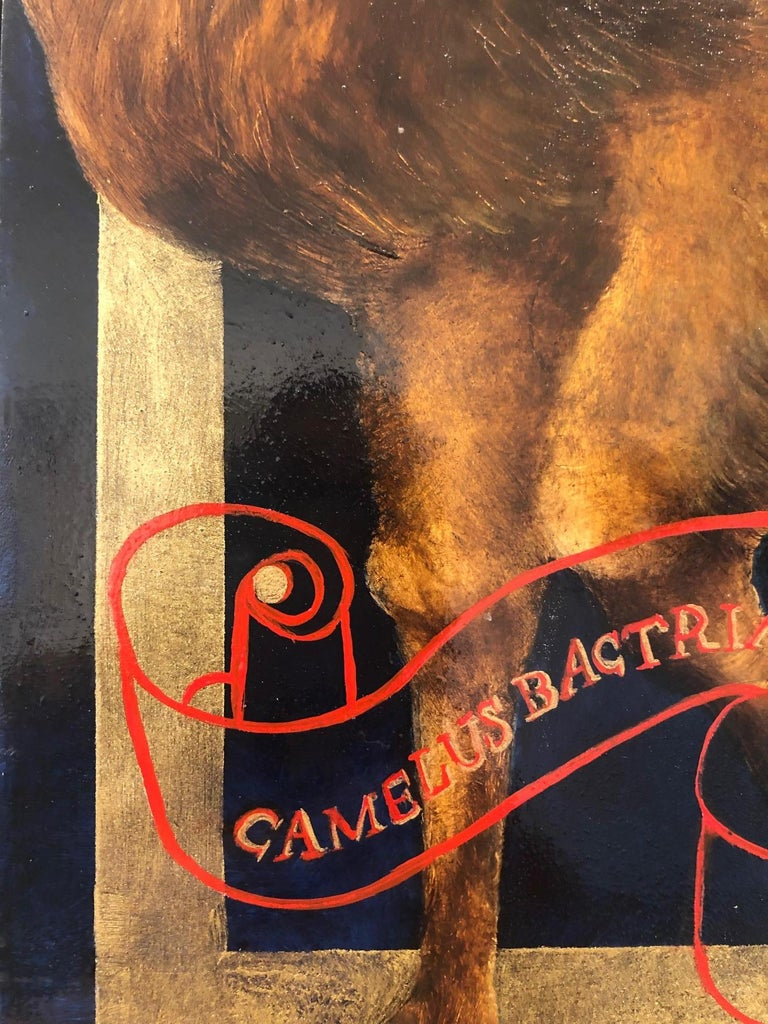 CAMEL - oil and gold leaf on panel with hand lacquered frame.  - Brown Still-Life Painting by Adrienne Sherman