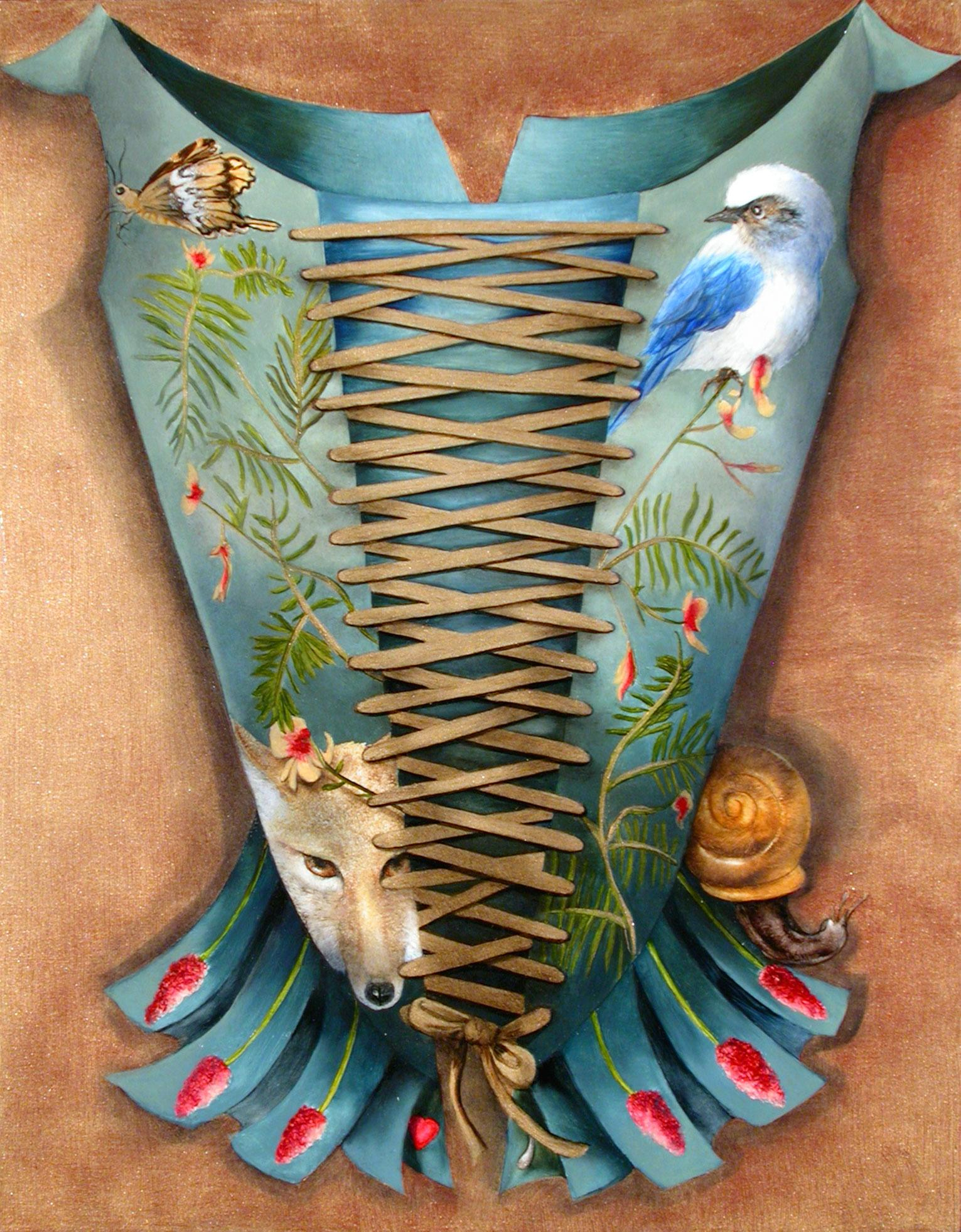 Endangered Species / renaissance corset with animals oil painting