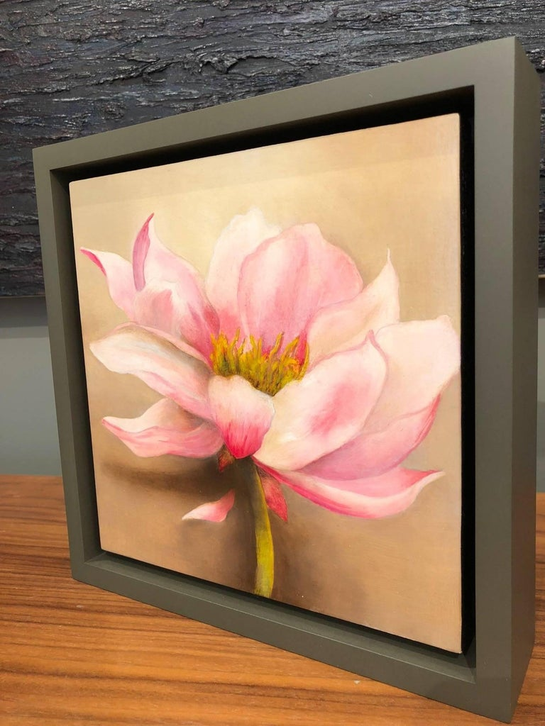 Rich, sophisticated and bold contemporary floral botanical painted in oil on canvas by artist Adrienne Sherman, whose poetic and realistic floral paintings are at once modern and fresh while giving a nod to past scientific illustrators and