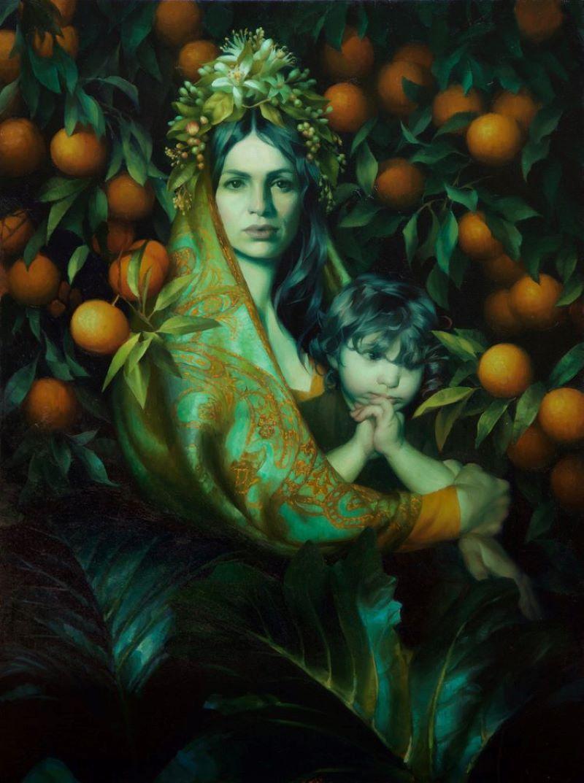 """Orange Blossom Madonna"", Oil Painting"
