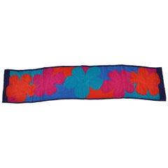 "Adrienne Vittadini Bold Multicolor 'Mod Floral"" Fringed Silk Scarf"