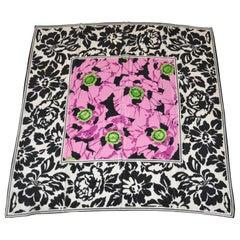 Adrienne Vittadini Elegant Black & White Borders Floral Silk Scarf