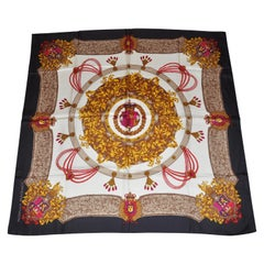 """Adrienne Vittadini Magnificent """"Royal Crown and Emblem With Black Borders Scarf"""