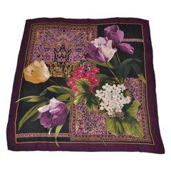 Adrienne Vittadini Merlot Borders With Floral Arrangement Silk Scarf