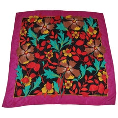 Adrienne Vittadini Violet Border With Eye-Popping Jungle Floral Silk Scarf