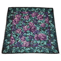"Adrienne Vittadini ""Violet & White Floral"" Fringed Wool Challis & Silk  Scarf"