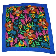 "Adrienne Vittadini Wonderfully Bold Lapis Border ""Autumn Floral"" Silk Scarf"