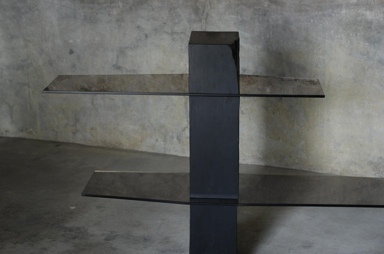 French Adroit Sculpted Console Shelf, Sculpted by Frederic Saulou For Sale