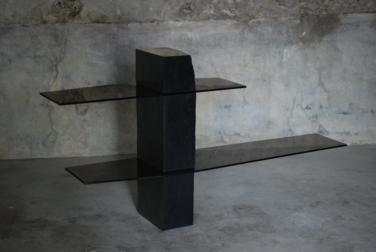Adroit Sculpted Console Shelf, Sculpted by Frederic Saulou In New Condition For Sale In Geneve, CH