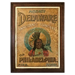 "Advertising Tin Sign ""The Delaware Insurance Company of Philadelphia"" Circa 1885"