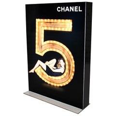 Advertising Vintage Lighting Display Chanel No. 5 Black Gold