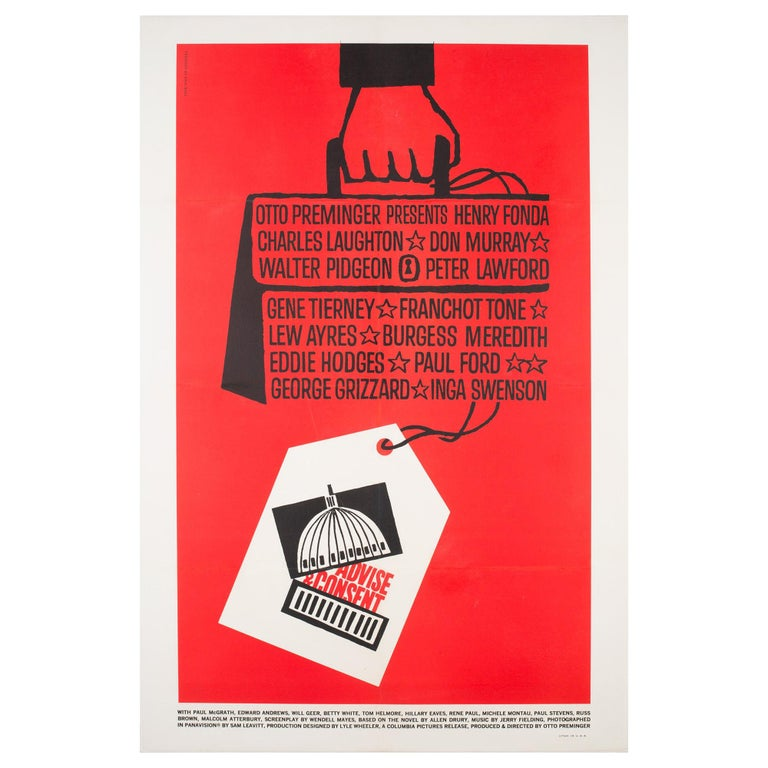 """""""Advise & Consent"""" 1962 US 1 Sheet Film Poster, Bass For Sale"""