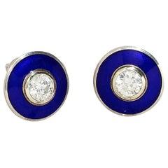 Aegean Blue Aurora Earrings in 18k White Gold with 1ct Diamonds, Vitreous Enamel