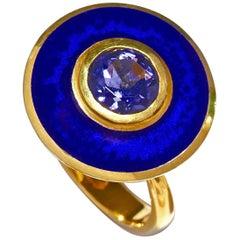 Aegean Blue Aurora Ring 18 Karat Yellow Gold Blue Vitreous Enamel Iolite Stone