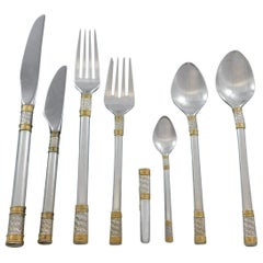 Aegean Weave Gold by Wallace Sterling Silver Flatware Set 12 Service 105 Pieces