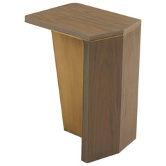Aegialia Stone Side Small Table, Modern Accent in Carbon Walnut and Bronze