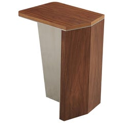 Aegialia Walnut Small Modern Side Table, Contemporary Accent Stainless Steel