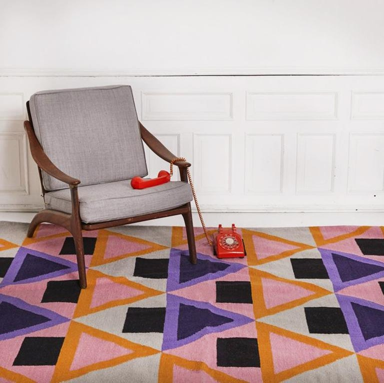 Hand-Woven Aelfie Morgan Modern Dhurrie Handwoven Geometric Pink Purple Colorful Rug For Sale