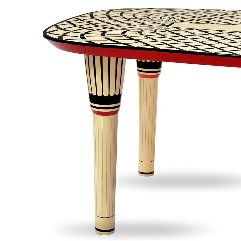 Modern Aelita Dining Table, Graphic Table in Black and Ivory by Matteo Cibic For Sale