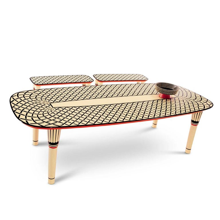 Indian Aelita Dining Table, Graphic Table in Black and Ivory by Matteo Cibic For Sale