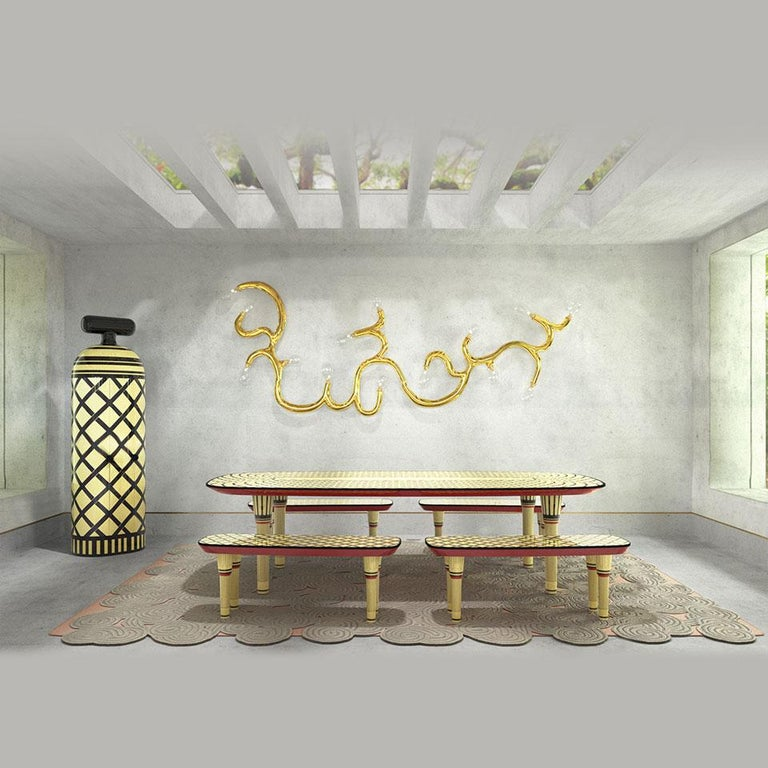 Resin Aelita Dining Table, Graphic Table in Black and Ivory by Matteo Cibic For Sale