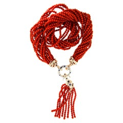 AENEA 18k Pink Gold Coral Blue Sapphires White Diamonds Tassle Necklace
