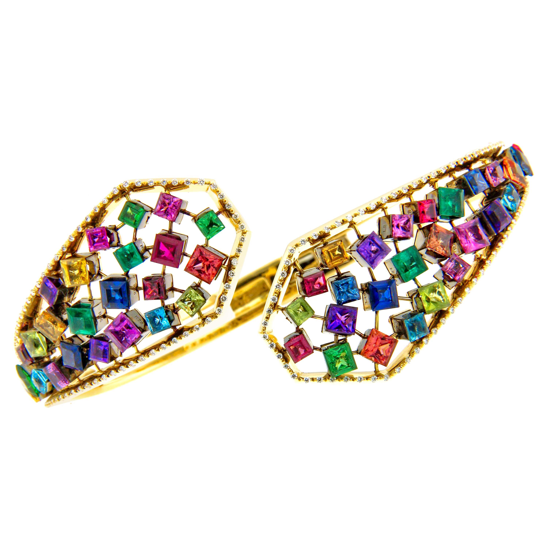 AENEA 18k Yellow Gold Rainbow Multi-Color Emeralds Ruby Sapphire Bangle