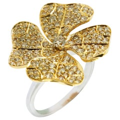AENEA 18k Yellow Gold Fancy Brown Diamonds E-F/VVS White Diamonds Flower Ring