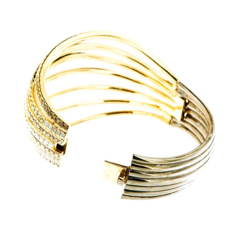 Women's AENEA 18k Yellow Gold Fancy Yellow Brown White Diamonds Bangle For Sale