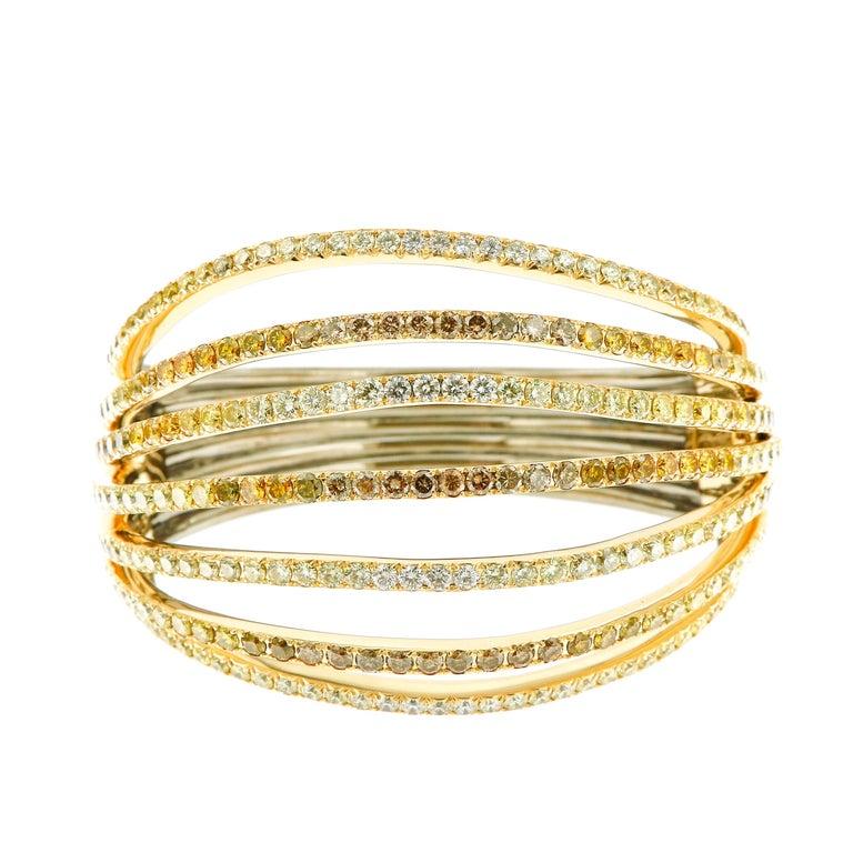AENEA 18k Yellow Gold Fancy Yellow Brown White Diamonds Bangle For Sale 1