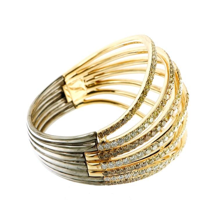 AENEA 18k Yellow Gold Fancy Yellow Brown White Diamonds Bangle For Sale 2