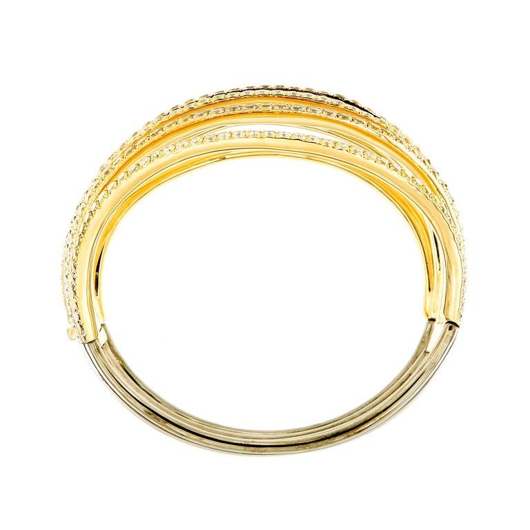 AENEA 18k Yellow Gold Fancy Yellow Brown White Diamonds Bangle For Sale 3
