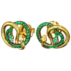 AENEA Brazilian Emeralds Rubies 18k Yellow Gold Sterling Silver Stud Earrings