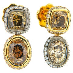 AENEA 18k Yellow Gold Fancy Brown White Diamond Earrings