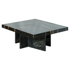 Aeneas Solid Marble Coffee Table in Oxidized Brass