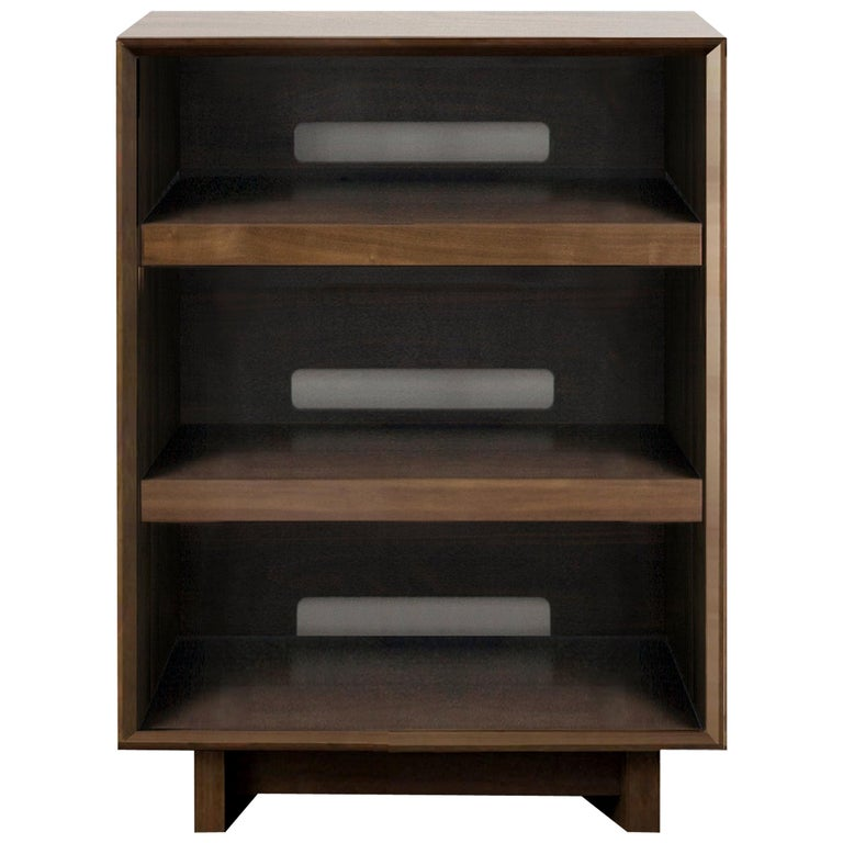 Audio Rack In Solid Natural Walnut For, Audio Furniture Racks And Cabinets