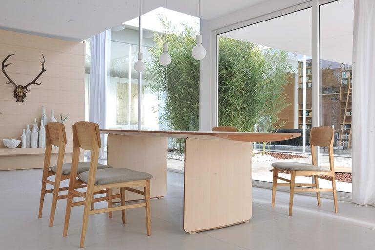 Aero, Contemporary Table or Desk in Maple Wood, Design Franco Poli For Sale 3