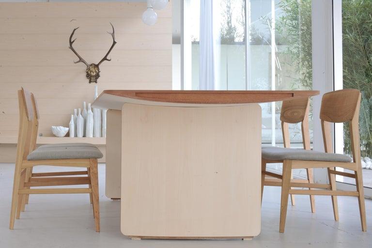 Aero, Contemporary Table or Desk in Maple Wood, Design Franco Poli For Sale 4