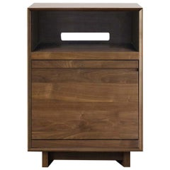 Aero Record Stand for Sonos with Vinyl Record Storage in Solid Natural Walnut