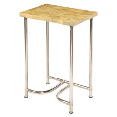 Art Deco Side Table with Mosaic Shagreen Top & Sculptural Aluminum Base