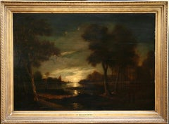 Moonlit Landscape - 17th Century Oil, River & Trees at Night by A Van Der Neer