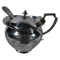 Aesthetic Coin Silver Mustard Pot with Ladle by Krider of Philadelphia