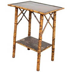 Aesthetic Lacquer Bamboo Console Table Lamp Side Table Victorian