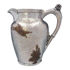 Aesthetic Mixed Metals Gorham Sterling Silver Water Pitcher Applied Bird