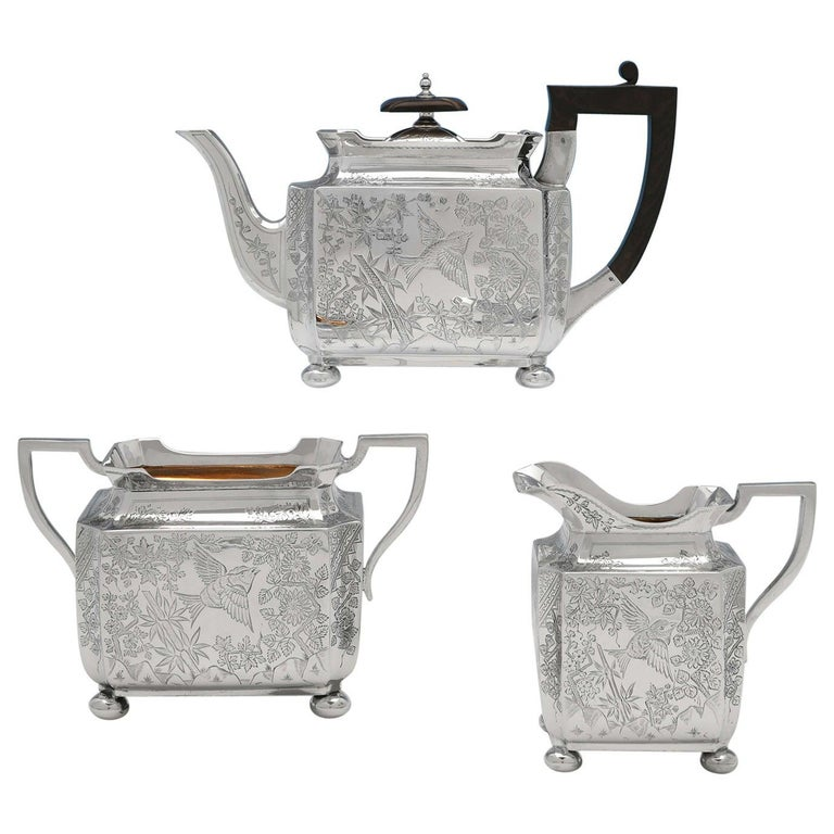 Aesthetic Movement Antique Sterling Silver 3 Piece Tea Set by Walker & Hall 1895 For Sale